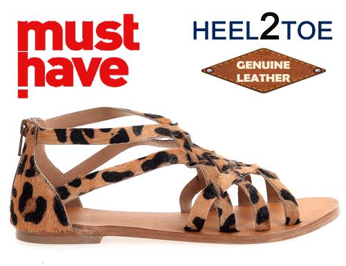 Sandale Heel2Toe cu barete impletite piele naturala Leopard Print Camel