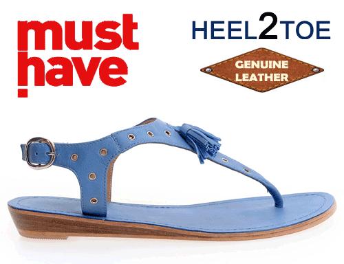 Sandale Heel2Toe din piele naturala albastre