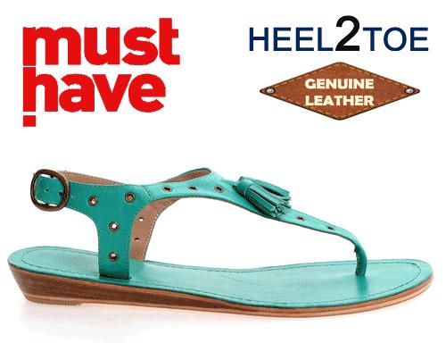 Sandale Heel2Toe din piele naturala turcoaz