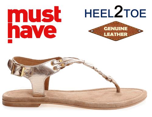 Sandale cu talpa joasa aurii Hell2Toe barete impletite