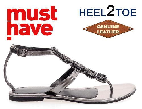Sandale dama talpa joasa si aplicatii floricele gri metalizat
