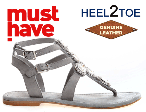 Sandale din piele HEEL2TOE cu aplicatii de cristale