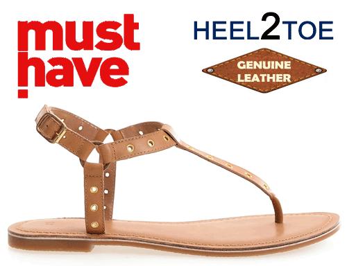 Sandale din piele design Light talpa joasa Heel2Toe maro