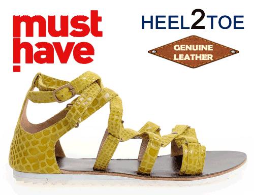 Sandale din piele naturala HEEL2TOE Galbene Print Reptila