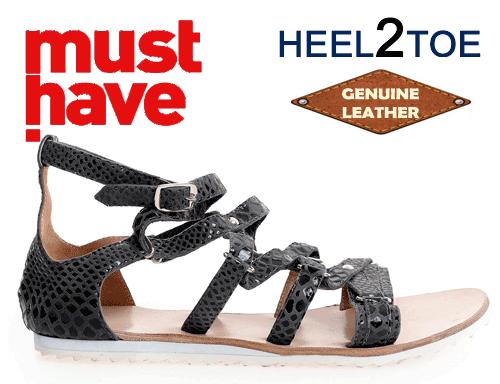Sandale din piele naturala HEEL2TOE Gri Petrol Reptila