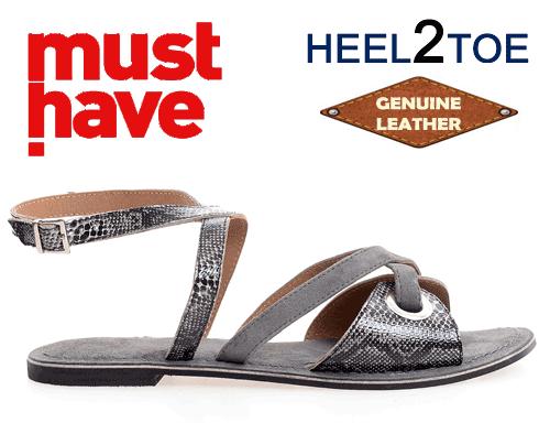 Sandale din piele naturala HEEL2TOE Print Reptila Gri Petrol
