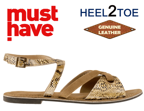 Sandale din piele naturala HEEL2TOE Print Reptila Maro
