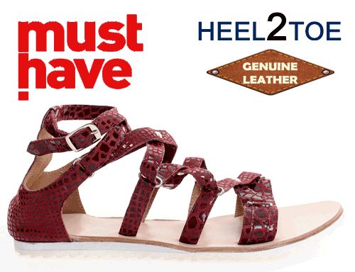 Sandale din piele naturala HEEL2TOE Visinii Print Reptila