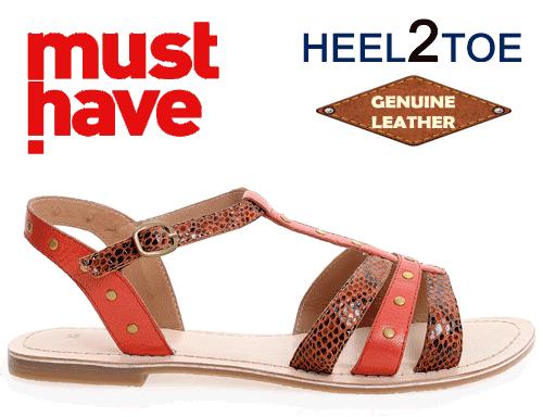 Sandale din piele naturala HEEL2TOE cu barete rosii