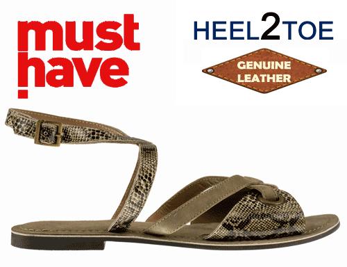 Sandale din piele naturala cu talpa joasa de dama HEEL2TOE Print Reptila Verde