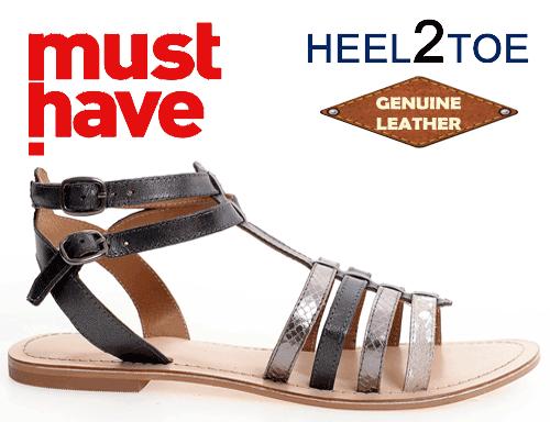 Sandale din piele naturala cu talpa joasa gri inchis de dama HEEL2TOE