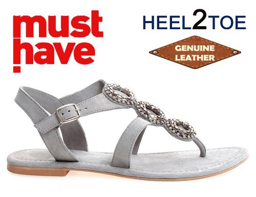 Sandale din piele naturala cu talpa joasa gri perlat de dama HEEL2TOE