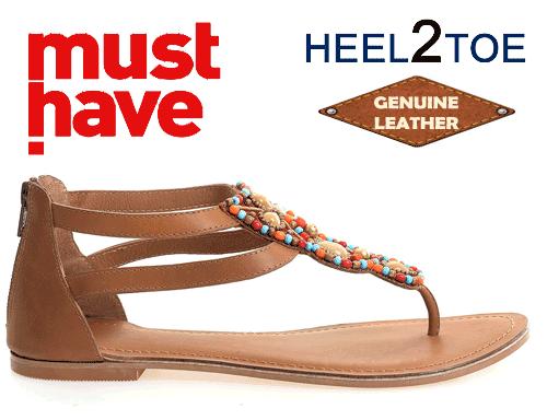 Sandale din piele naturala cu talpa joasa si calcai aplicatii margele