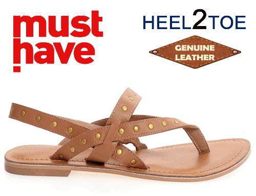 Sandale din piele naturala cu tinte metalice