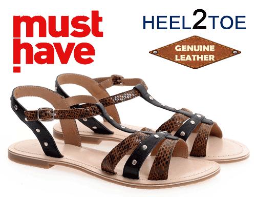 Sandale din piele naturala heel to toe capse bronz