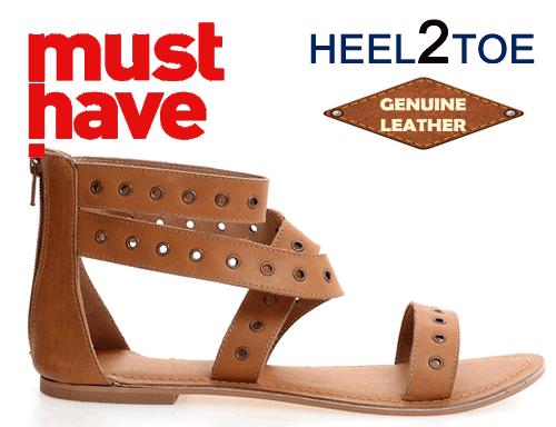 Sandale din piele naturala maro HEEL2TOE cu perforatii