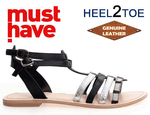 Sandale din piele naturala cu talpa joasa de dama HEEL2TOE