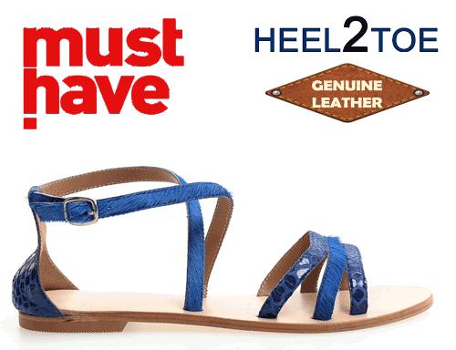 Sandale din piele par ponei Heel2Toe Albastre