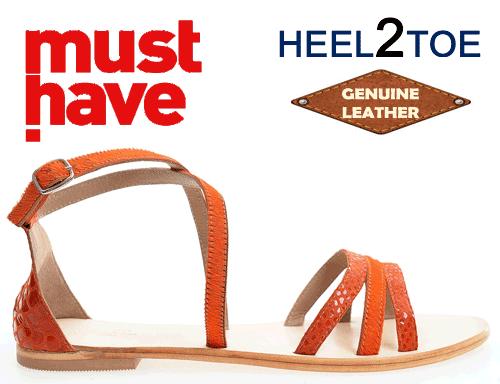 Sandale din piele par ponei Heel2Toe Portocalii