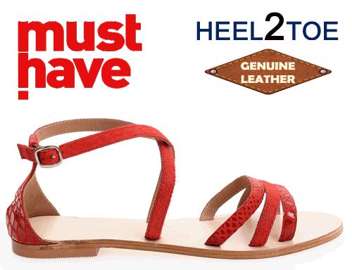 Sandale din piele par ponei Heel2Toe Rosii
