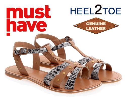 Sandale heel to toe accesorizate cu capse aurii