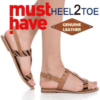Sandalele din piele naturala Heel2toe cu talpa joasa si aplicatii
