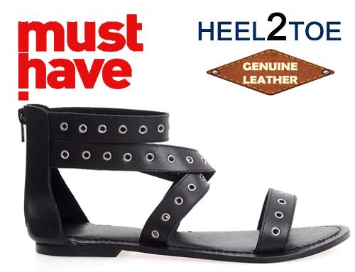 Sandale negre Heel2Toe din piele naturala cu perforatii
