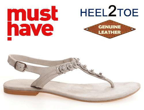 Sandale piele naturala si aplicatii de cristale inimioare