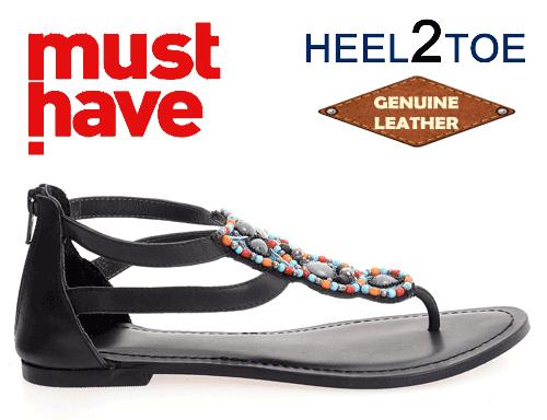 Sandale piele naturala si aplicatii margele si calcai acoperit