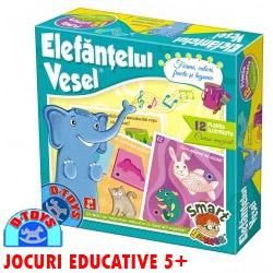 Jocuri educative 4-5 ani Elefantelul Vesel - Forme, culori, fructe si legume