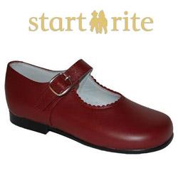 Pantofi scoala fete piele naturala cu model de culoare rosu inchis