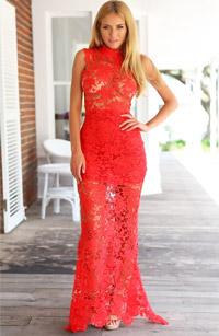 Rochie Pure Red rochie sey din dantela rosie transparenta