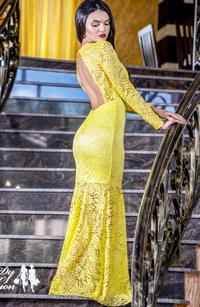 Rochie galbena de seara din dantela eleganta