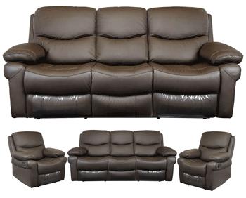 Set canapea 3 locuri cu fotolii din piele naturala Kring Royal culoare Maro Inchis