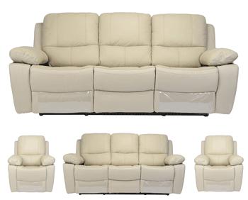 Set canapea 3 locuri cu fotolii din piele naturala Kring Royal culare Bej