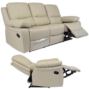Set canapea 3 locuri si fotolii din piele naturala Kring Royal culoare bej