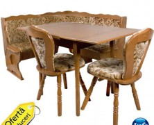 Coltar de bucatarie Bavaria lemn masiv cu masa extensibila si scaune tapitate