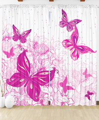 Draperie 3D - Butterflies on polka dots