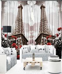 Draperie 3D Turnul Eiffel in black and white