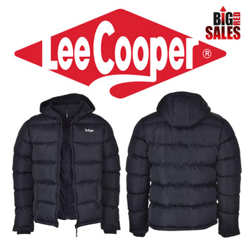 Geaca de iarna cu gluga si 2 fermoare Lee Cooper Two Zip Bubble Mens Jacket