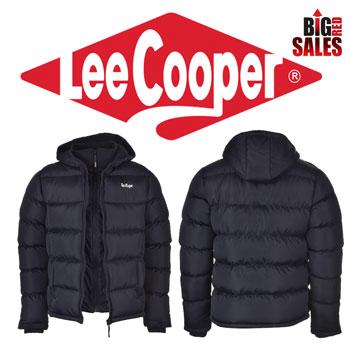 Geaca de iarna cu gluga si 2 fermoare Lee Cooper Two Zip Bubble Mens Jacket