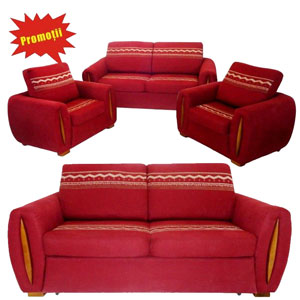 Promotie la setul 3-1-1 canapea extensibila cu 2 Fotolii Gloria