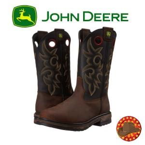 Cizme din piele modele Western John Deere Steel Toe