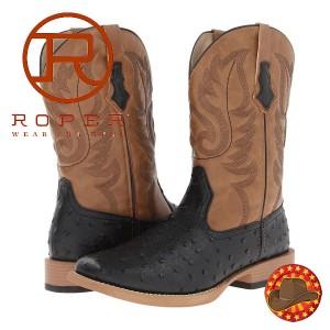 Ghete Cizme barbatesti Roper Ostrich Print Square Toe Cowboy Boot
