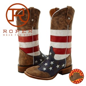 Roper American Flag Square Toe Boot Cizme barbatesti Steagul Statelor Unite