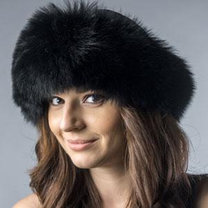 Caciula ruseasca de dama din blana vulpe polara neagra