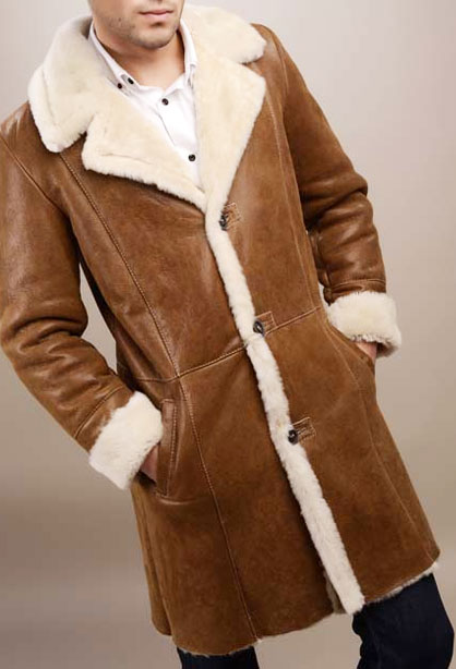 Cojoc / Palton barbatesc din piele si blana naturala