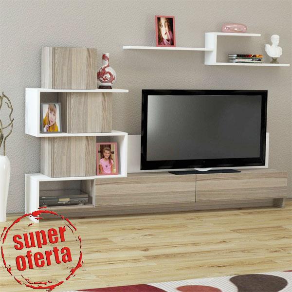 Comoda TV Wooden Art ieftina la pret redus. 2 piese moderne pentru living