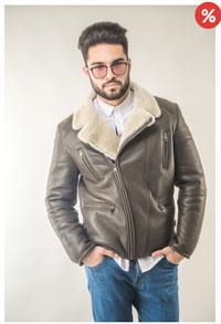 Geaca scurta din piele si blana naturala pentru barbati Vesa