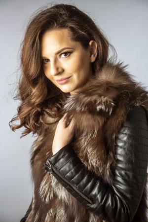 Jacheta dama chic cu guler din blanita naturala